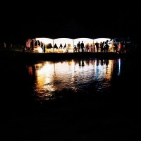 wedding at Laughing Waters - night time by the pond