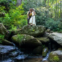Wedding couple by Hickory Nut Creek