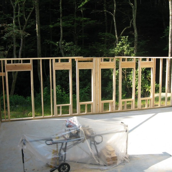 Framing the basement- yoga room
