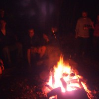 around the campfire at Laughing Waters