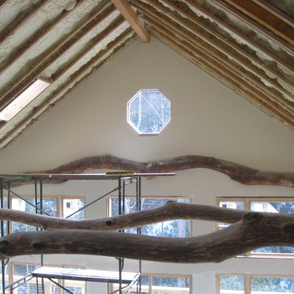 View from the loft through the beams