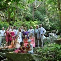 Wedding party at the waterfall behind Laughing Waters