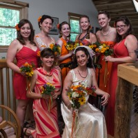 Bridesmaids on the Laughing Waters balcony