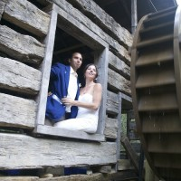 wedding couple by the waterwheel