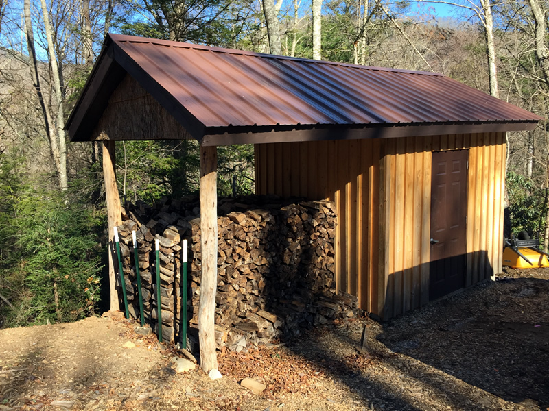 Wood Pile and Storage Shed