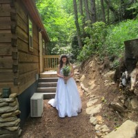 bride by the Creekside Cottage