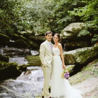 wedding couple by the stream