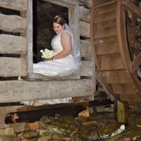 Bride in the old gristmill at Laughing Waters