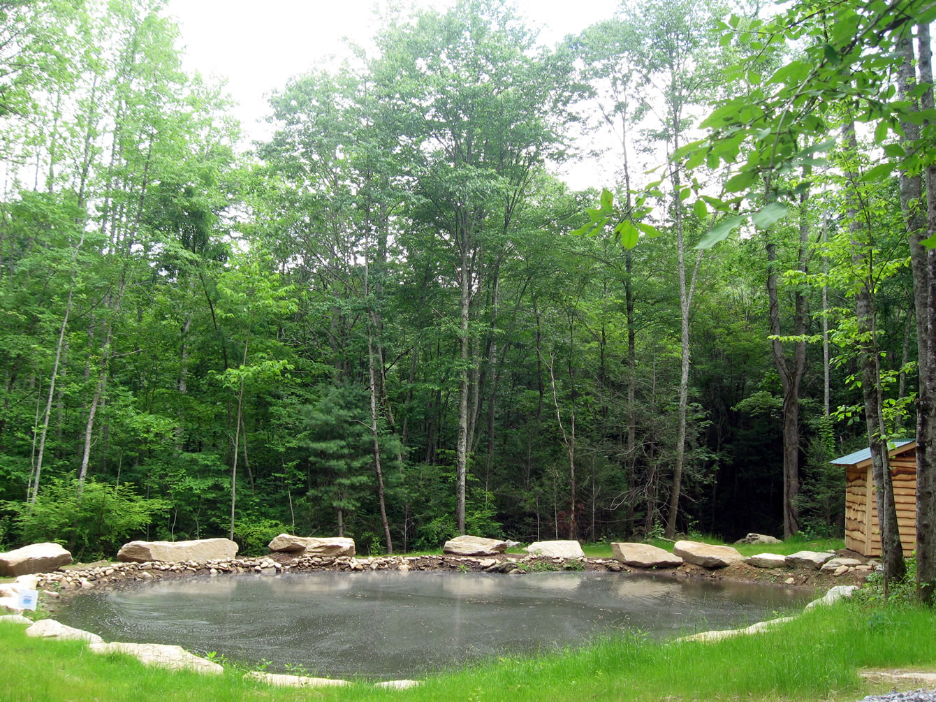 Micro hydro pond at Hickory Nut Forest